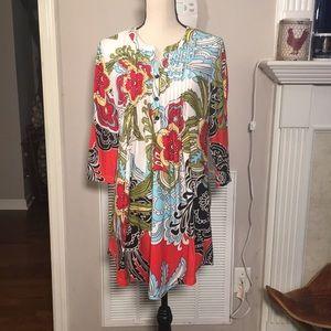 Reborn mini dress size large. Colorful & EUC. Boho